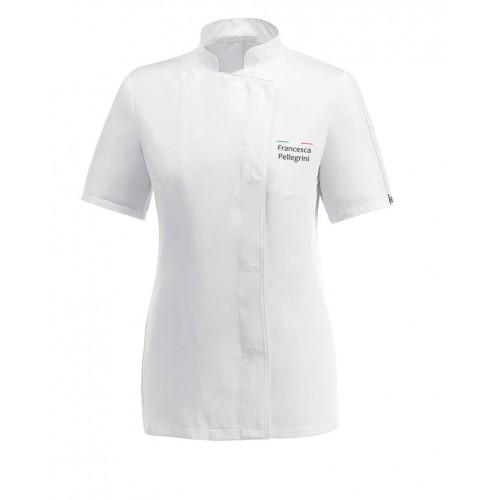 Giacca Cuoco Donna Chef Italia Bianco Microfibra M/Corte