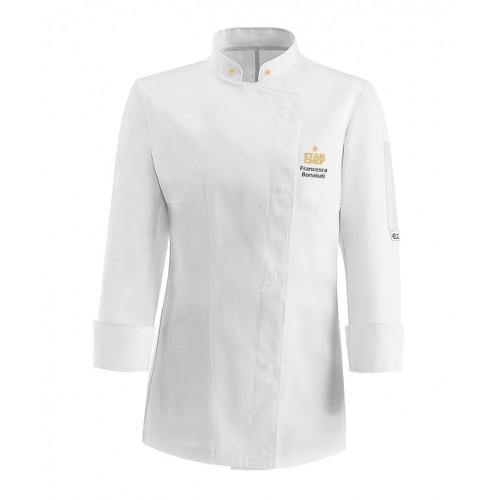 Giacca Cuoco Donna Microfibra Bianca Star Chef