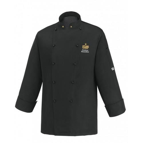 Giacca Cuoco Microfibra Nera Star Chef