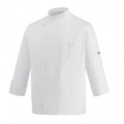 Giacca Cuoco Zip Bianca Microfibra