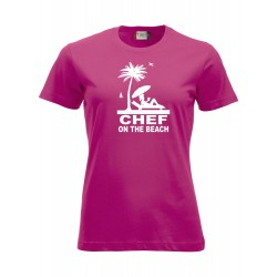T-Shirt Donna Chef On The Beach Fuxia