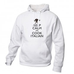 Felpa Cappuccio Keep Calm Bianca