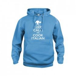 Felpa Cappuccio Keep Calm Blu Tropical
