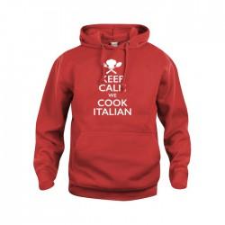 Felpa Cappuccio Keep Calm Rossa