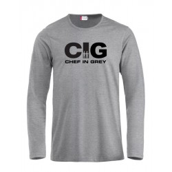 T-Shirt Manica Lunga Chef in Grey Grigia