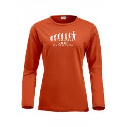 T-Shirt Donna Manica Lunga Chef Evolution Arancio
