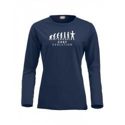 T-Shirt Donna Manica Lunga Chef Evolution Blu