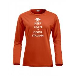 T-Shirt Donna Manica Lunga Keep Calm Arancio