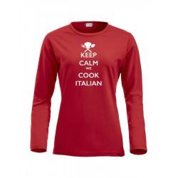 T-Shirt Donna Manica Lunga Keep Calm Rossa