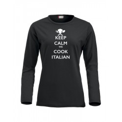 T-Shirt Donna Manica Lunga Keep Calm Nera