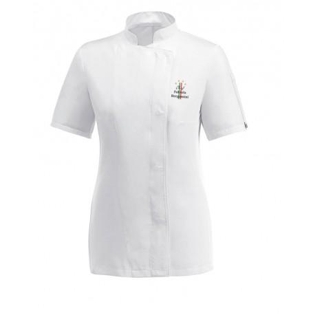 Giacca Cuoco Donna 4 Stelle Bianco Microfibra M/Corte