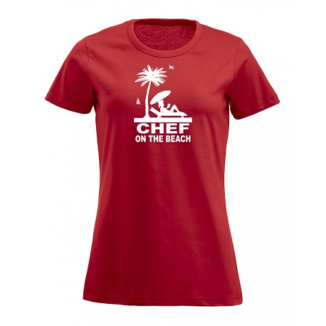 T-Shirt Donna Chef On The Beach Rossa