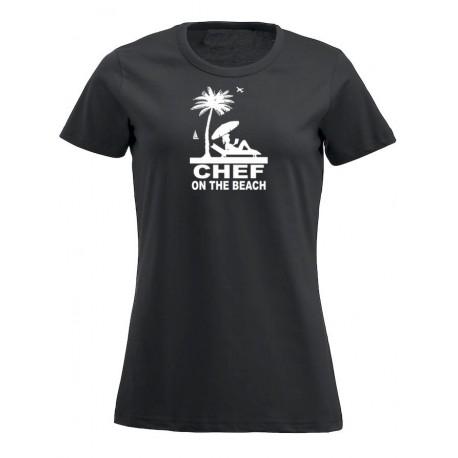 T-Shirt Donna Chef On The Beach Nera
