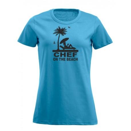 T-Shirt Donna Chef On The Beach Turchese