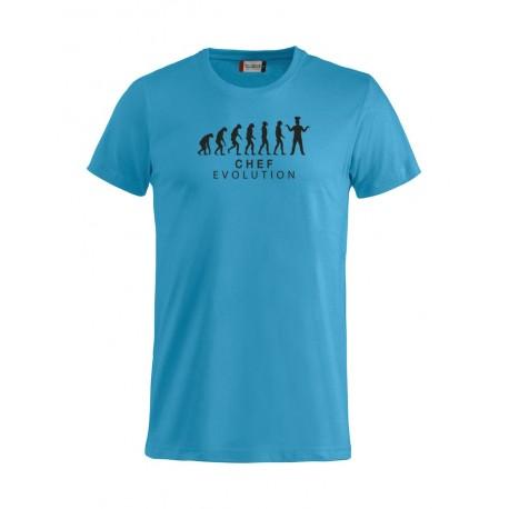 T-Shirt Manica Corta Chef Evolution Turchese