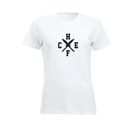T-Shirt Donna Chef Coltelli Bianca