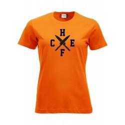 T-Shirt Donna Chef Coltelli Arancio