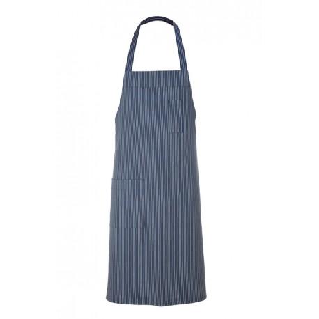 Grembiule Cuoco Pettorina Gessato Blu