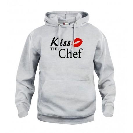 Felpa Cappuccio Grigia Kiss the Chef