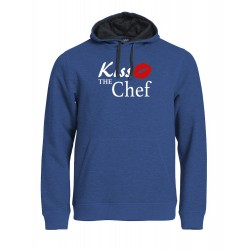 Felpa Top Cappuccio Blu Melange Kiss the Chef