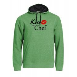 Felpa Top Cappuccio Verde Melange Kiss the Chef