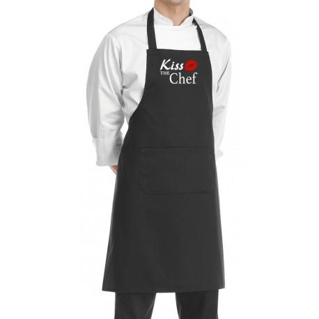 Grembiule Pettorina Nero Kiss The Chef