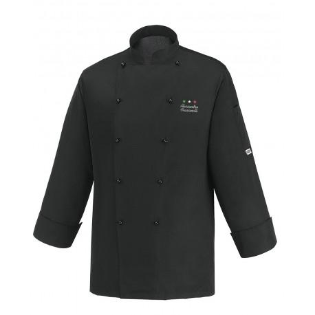 Giacca Cuoco Microfibra Nera Chef Stelle