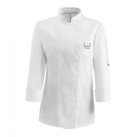 Giacca Cuoco Donna Microfibra Bianca Chef Stelle