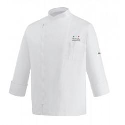 Giacca Cuoco Zip Bianca Microfibra Chef Stelle