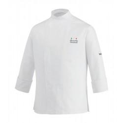 Giacca Cuoco Slim Bianca Microfibra Chef Stelle