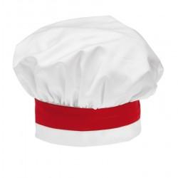 Cappello Cuoco Satin Bianco-Rosso