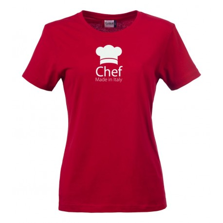 T-Shirt Donna Chef Made in Italy Rossa
