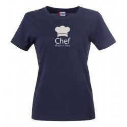 T-Shirt Donna Chef Made in Italy Blu
