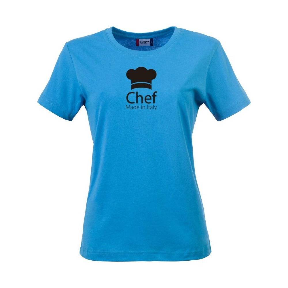 T shirt donna chef made in italy turchese for Shirts made in italy