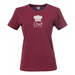 T-Shirt Donna Chef Made in Italy Bordeaux