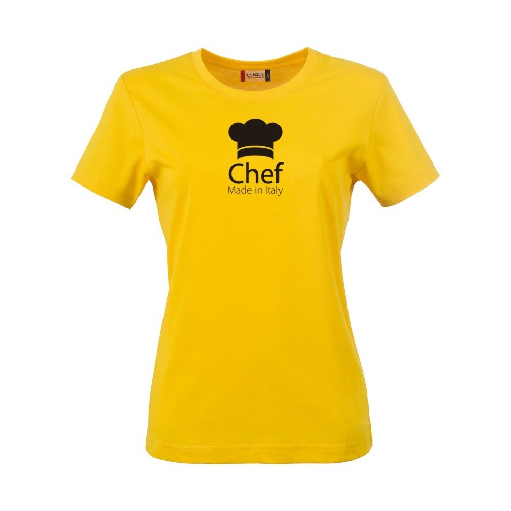 T shirt donna chef made in italy gialla for Shirts made in italy