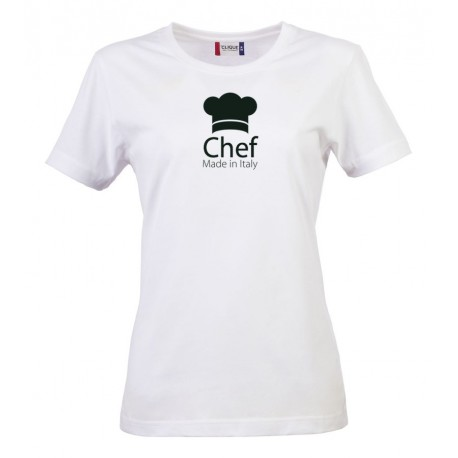 T-Shirt Donna Chef Made in Italy Bianca