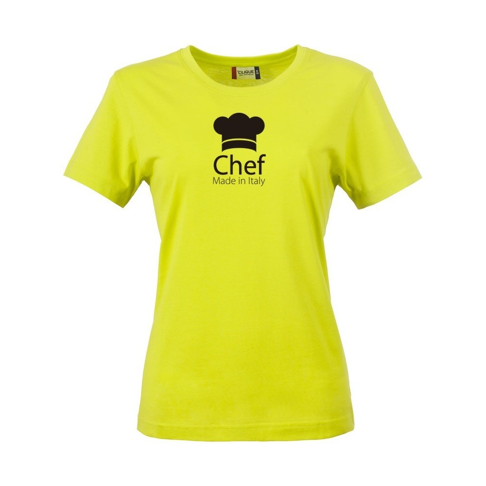 T shirt donna chef made in italy fluo for Shirts made in italy