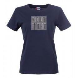 T-Shirt Donna 100% Cucina Italiana Blu