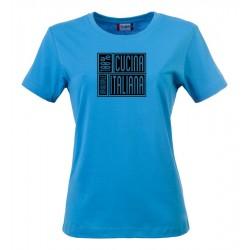 T-Shirt Donna 100% Cucina Italiana Turchese