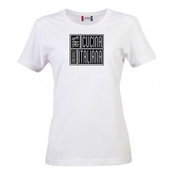 T-Shirt Donna 100% Cucina Italiana Bianca
