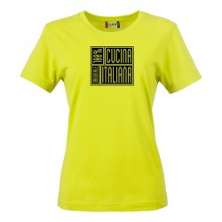 T-Shirt Donna 100% Cucina Italiana Fluo