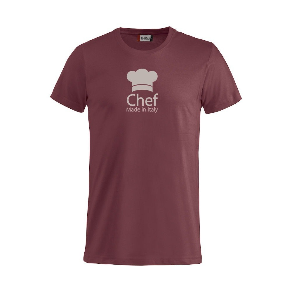 T shirt chef made in italy bordeaux for Shirts made in italy