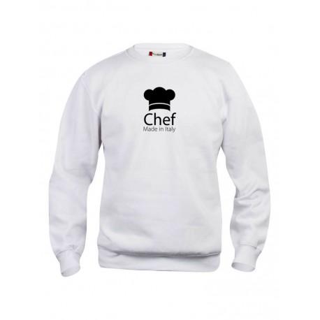 Felpa Girocollo Chef Made in Italy Bianca