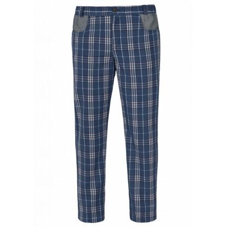 Pantalone Cuoco Liverpool Stretch Quadri Blu