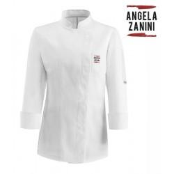 Giacca Cuoco Donna Microfibra Bianca Red2