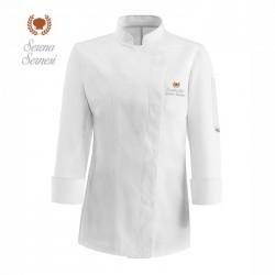Giacca Cuoco Donna Microfibra Bianca Corona
