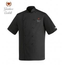 Giacca Cuoco Nera Maniche Corte Corona