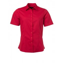 Camicia Donna Policotone Manica Corta Rossa