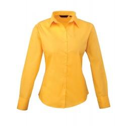 Camicia Donna Policotone Manica Lunga Gialla